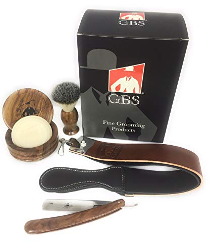 GBS Professional Shave Ready Straight Edge Razor Shaving Set 5 Piece - Soap, Wood Bowl, Wood Shave Ready Straight Razor and Wood Shave Brush Great Men s Gift Premium Folding Manual Razor