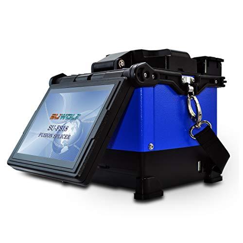 SUWOLF FTTH Doble Caja de Calentamiento Empalmadoras de Fusión de Fibra Óptica/Optical Fiber Fusion Splicer, 5 Pulgadas LCD Empalme de Fusión de Fibra con Cortador de Fibra y 6*Electrodos