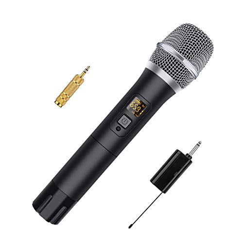 Funkmikrofon NASUM 48 Kanal UHF Mikrofon Wireless Microphone Karaoke mit 6,35 mm Stecker Mini Tragbaren Empfänger Für Zuhause, Karaoke, Konferenz, Outdoor- Party kabelloses Handmikrofon
