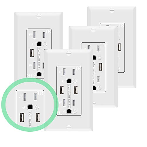 SZICT 4.8A/24W High Speed USB Wall Outlet, 15A Tamper-Resistant Receptacles, Compatible with iPhone, Samsung Galaxy, HTC Other Smartphones, UL Listed(White, 4 Pack)