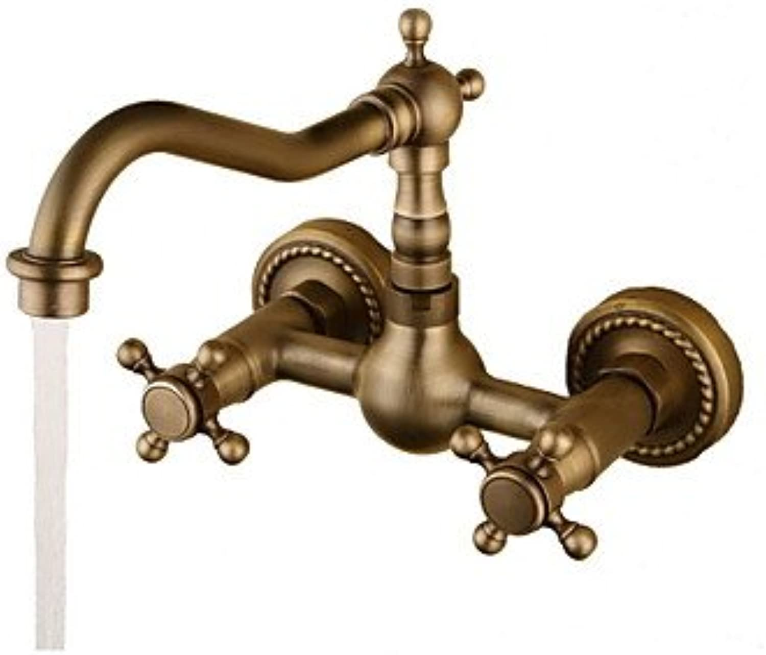 Mangeoo Bathroom Sink Faucet - redatable Antique Bronze Wall Mounted Two Holes Two Handles Two Holesbath Taps