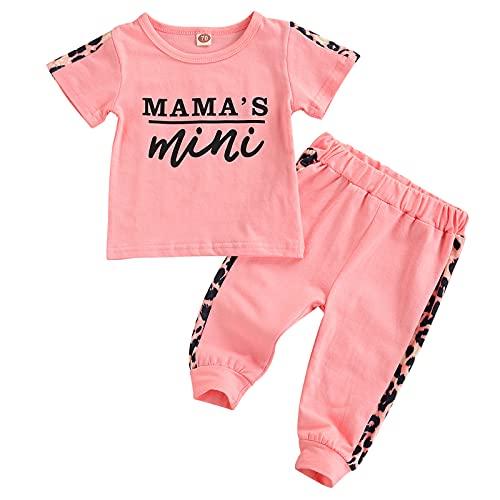Geagodelia Babykleidung Set Baby Mädchen Kleidung Outfit Kurzarm Top T-Shirt + Hose Neugeborene Weiche Babyset Mama's Mini (Pink, 2-3 Jahre)