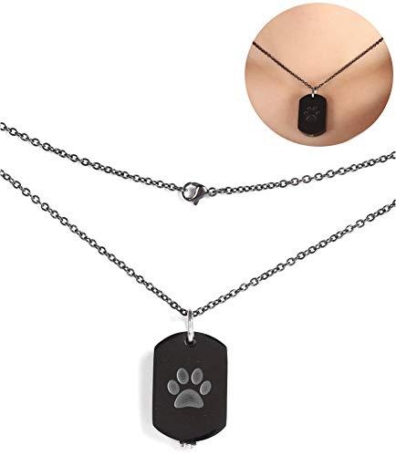 Pssopp Memorial urna Collar para Perro Gato Mascotas Cenizas Huella patrón Colgante Collar Perro Cenizas Recuerdo medallón para Mujeres niñas
