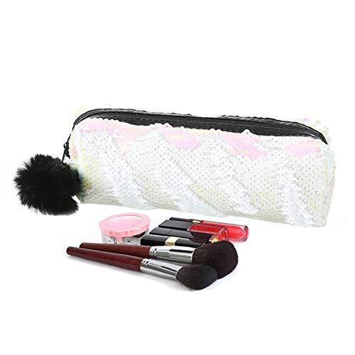 Estuche grande reversible con lentejuelas y purpurina para maquillaje (Blanco + rosa)