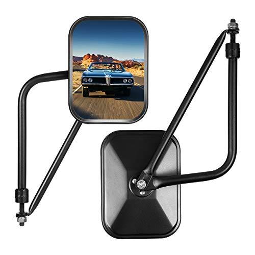 Esright Rectangular Adventure Door Hinge Mirrors, Easy-Install Adventure Mirrors Side View Improved Design Shake-Proof Door for ALL Jeep Wrangler JK,JL(07-18), (1 Pair Textured, Black)