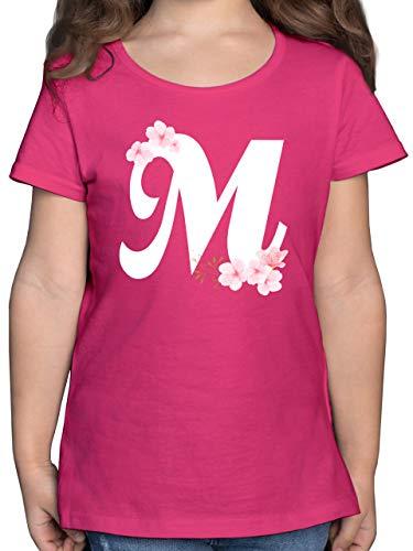 Anfangsbuchstaben Kind - Buchstabe M mit Kirschblüten - 164 (14/15 Jahre) - Fuchsia - Kirschblüte - F131K - Mädchen Kinder T-Shirt
