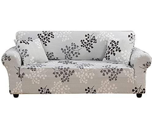 KELUINA Fundas elásticas para sofá de 1/2/3/4 plazas, poliéster y elastano impresas, para sala de estar, funda elástica para sofá, fundas protectoras de muebles (P08, 2 plazas (143-185 cm)