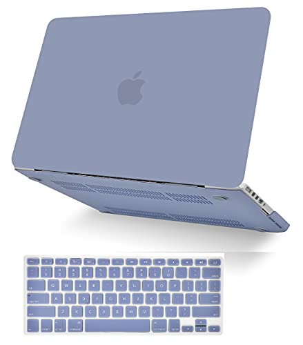 KECC Laptop Case for MacBook Air 13' Retina (2021/2020, Touch ID) w/Keyboard Cover Plastic Hard Shell Case A2337 M1 A2179 2 in 1 Bundle (Lavender Grey)