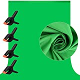 7 X 10 ft Photography Chromakey Green Screen Backdrop, Soft Pure GreenScreen Sheet Virtual Background for Zoom, Polyester Cloth Fabric Curtain with 4 Spring Clamps for Photoshoot Studio Video Gaming