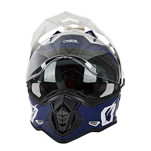 O'NEAL | Casco de Motocicleta | Moto Enduro | Aberturas de ventilación para un máximo Flujo de Aire y refrigeración Visera Solar integrada | Casco Sierra R | Adultos | Azul Blanco | Talla XXL