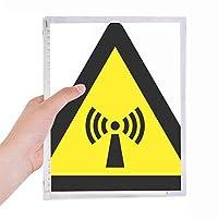 放射線警告シンボルイエローブラックトライアングル 硬質プラスチックルーズリーフノートノート