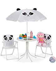 Relaxdays Camping kinderzitgroep, kinderzitgarnituur met parasol, klapstoelen & tafel, panda motief, tuin, wit