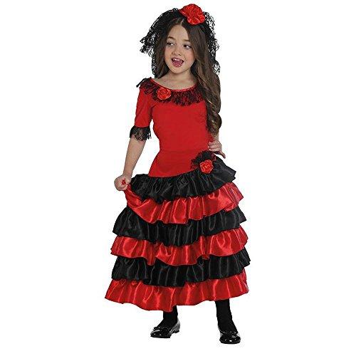 Rubies Spanierin Kleid für Kinder (164, schwarz / rot)