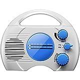 Radio de ducha impermeable, mini altavoz portátil de música, radio de ducha AM FM de alta definición de audio para baño, cocina, uso al aire libre