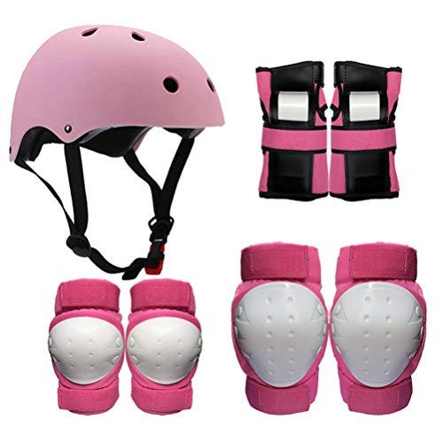 CLISPEED 1 Set Enfants Enfants Adulte Sport Protection Équipement Vélo Casque Équilibre Voiture Patinage Ski Rouleau Protecteur Kit Planche À roulettes Vélo Équitation Genouillère (Rose Taille M)