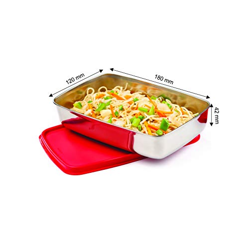 Signoraware Crispy Steel Container Small, 550ml, Set of 1, Red