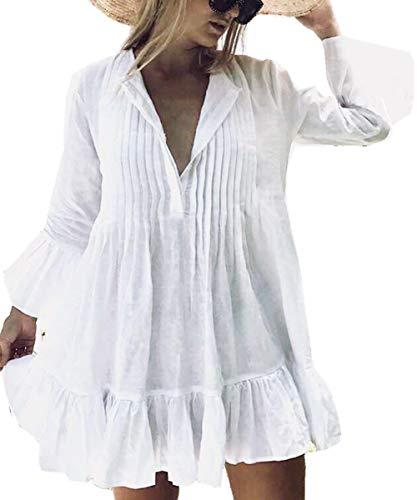 LikeJump Túnica Vestido de Playa Kimonos Pareos Mujer Bohemia Verano Camisa