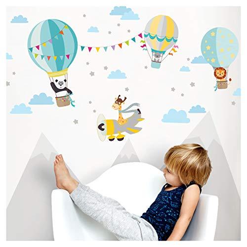 Little Deco Aufkleber Tiere im Heißluftballon & Giraffe im Flugzeug I Wandbild M - 94 x 48 cm (BxH) I Grau Gelb Mint Sticker Kinder Wandtattoo Kinderzimmer Junge DL337