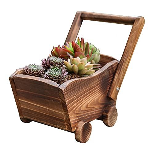 Modonghua Holz-Blumentopf, Schubkarre, Pflanzgefäß, Garten, Outdoor, gebranntes Holz, Blumentopf, Sukkulenten-Übertopf, Ornament