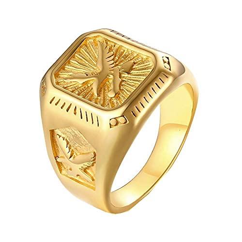 Anillo de águila para hombre en tono dorado, parte superior cuadrada de acero inoxidable con anillo de sello de rayos Animal9