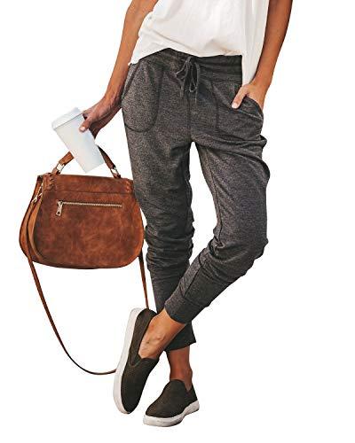 Yidarton Pantalones de deporte de algodón para mujer, pantalones de chándal largos para el tiempo libre, pantalones de entrenamiento, fitness, con cintura elástica gris oscuro S