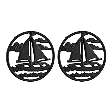 Cast Iron Trivets 2 Piece Rustic Brown Sailboat On The Sea Round Cast Iron Trivet Set 7.5 X 0.75 X 7.5 Inches Brown
