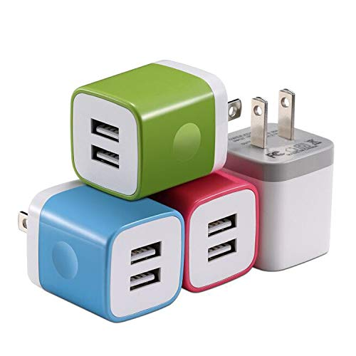 X-EDITION Wall Charger, 4-Pack 2.1A Dual Port USB Wall Charger Travel Plug Charging Block Cube Compatible with Phone Xs/Xs Max/XR/X/8/7/6 Plus 5S, Galaxy S10 S9 S8 S7 S6 S5, LG, Moto, Nokia and More