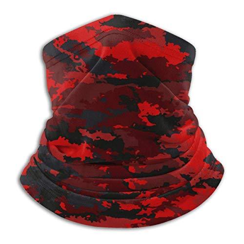 Disfraz de camuflaje militar de fuego de camuflaje rojo, bufanda clida para el cuello, cubierta facial reutilizable para exteriores, Bandana