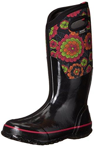 Bogs Womens Classic Pansies Black Multi Rubber Boots 37 EU