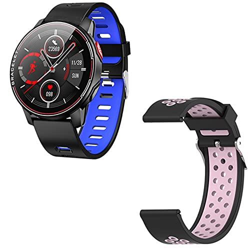 KMF Nuevo L6 Smart Watch IP68 Deportes Impermeables Mujeres Bluetooth Bluetooth Smartskatch Monitor De Ritmo Cardíaco para Android iOS,F