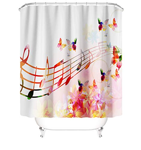 Music Shower Curtain Creative Art Musical Notes Rhythm Song Pink Flower Butterfly Waterproof Polyester Fabric Curtain Set with Hooks Bathroom Accessories 72 X 72 Inches