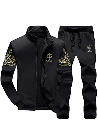 PASOK Men's Casual Tracksuit Full Zip Running Jogging Athletic Sports Jacket and Pants Set Black 2XL