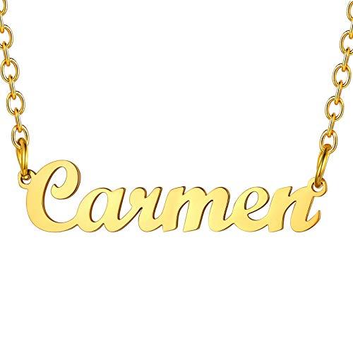 U7 Collares Letrero de Identidad Carmen Oro 18k Cadena Fina 45cm Ajustable Acero Inoxidable Regalo cumpleaños de Mujer