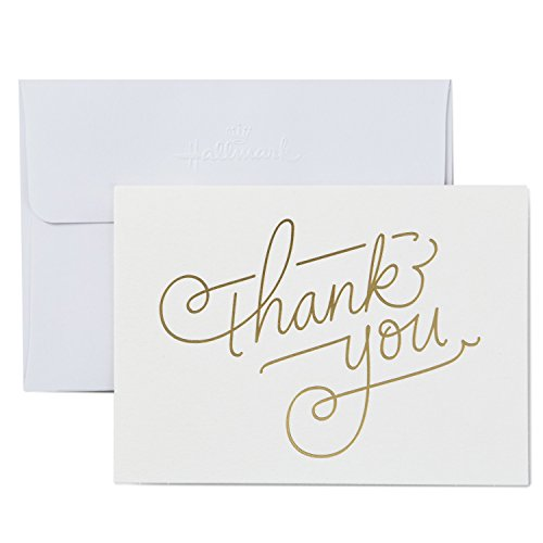 Hallmark Thank You Cards, Gold Foil Script (10 Cards with Envelopes)