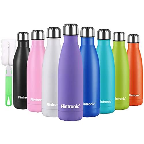 flintronic Edelstahl Trinkflasche, 500ML Vakuum Isolierte Thermosflasche Doppelwandig Flaschen, BPA-Frei, Auslaufsicher Wasserflasche für Sport, Schule, Fitness (inkl 1 Reinigungsbürste) Lila