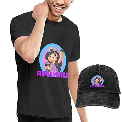 Baostic Camisetas y Tops Hombre Polos y Camisas, Aphmau Youtube Game T-Shirts and Caps, Black Fashion Sport Casual T-Shirt + Cowboy Hat Set for Men