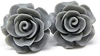 Large Rose Earrings on Plastic Posts for Metal Sensitive Ears, Charcoal Gray