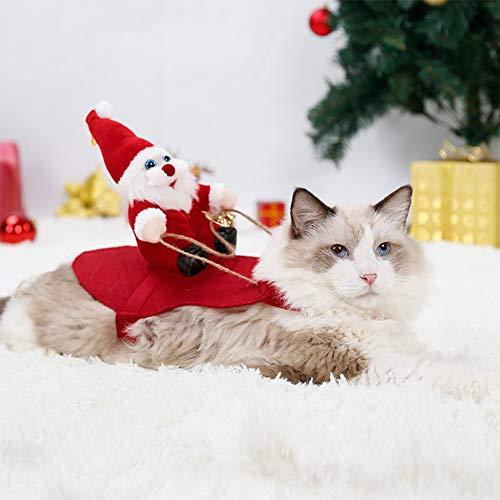 DishyKooker Weihnachtskostüm für Haustiere, für kleine und mittelgroße Hunde, Golden Retriever, Katze, Herbst/Winter, rot, xl