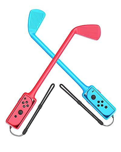 Switch マリオゴルフ スーパーラッシュ 対応 2個セット マリオゴルフ ロッド 任天堂 Joy-Con用 コントローラー ニンテンドー 落下防止 ストラップ付き 軽量 装着簡単 グリップ (赤&青)