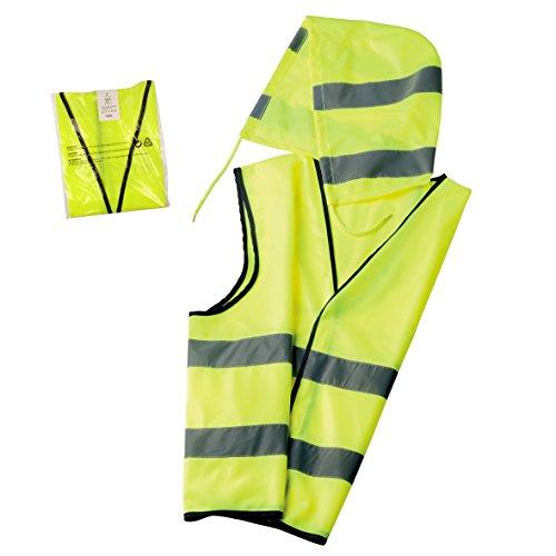 elasto form Warnwesten 5er-Set Kapuze nach EN ISO 20471 Zertifiziert Warnweste mit Kapuze Neon-Gelb Größe XXL mit Reflektorstreifen