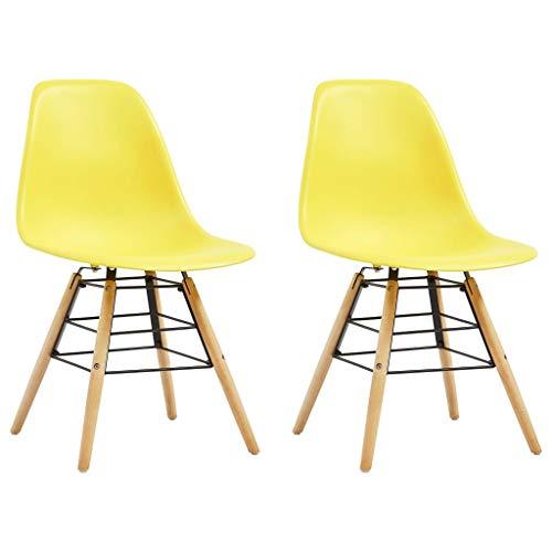 VidaXL 2 x eetkamerstoelen keukenstoel stoel stoelen eetstoel woonkamerstoel eetkamerstoelen keukenstoelen bureaustoel stoel stoel set geel PP houten poten
