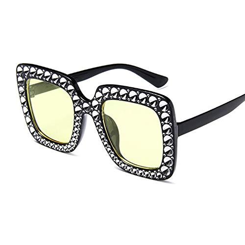 IRCATH Gafas de Sol de Gran tamaño cuadradas Mujeres Negro Vintage Big Frame Gafas de Sol Chet de Moda Femenino Adecuado para Caminar y reunirse Junto al mar-C2