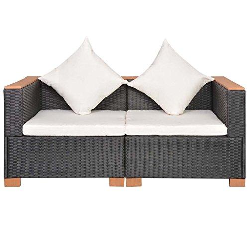 Lingjiushopping Ensemble de canapés de jardin 6 pièces en rotin synthétique et WPC noir Matériau du canapé : rotin PE + accoudoirs en WPC + structure en acier avec revêtement en poudre
