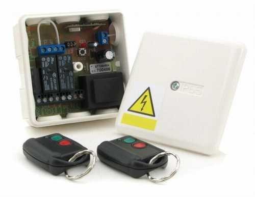 Funk Set 2x Handsender 2 Kanal Empfänger ST100HS/P wie ST100 jedoch universal/potenzialfrei für Garagentor Rolltore Jalousie mit 433MHz und Rolling Code (Keeloq)