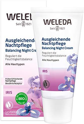 WELEDA Iris Ausgleichende Nachtpflege, reichhaltige Naturkosmetik Feuchtigkeitspflege zur Regeneration und Beruhigung von trockener Haut, Nachtcreme mit Nährstoffen gegen Falten (1 x 30 ml)