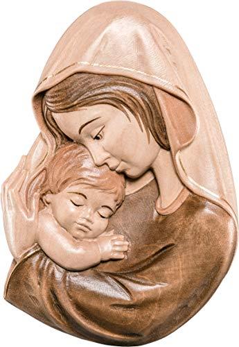 Ferrari & Arrighetti Relieve Virgen con el Niño en Talla de Madera Encerada para Colgar en la Pared - 9 cm de Altura - Demetz Deur