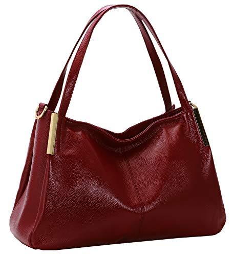 Heshe Women's Leather Handbags Top Handle Totes Bags Shoulder Handbag Satchel Designer Purse Cross Body Bag for Office Lady (Wine)
