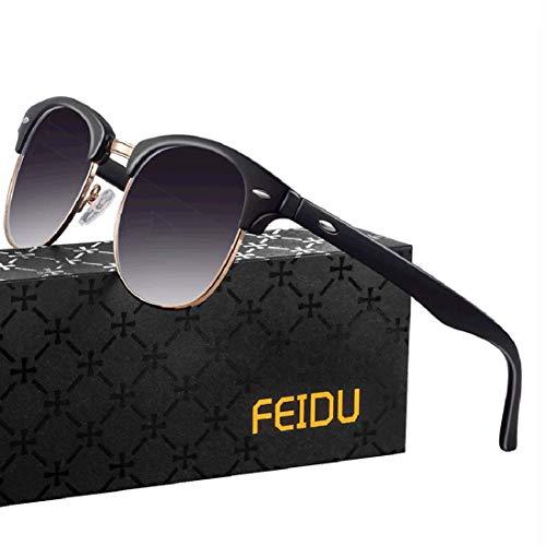 FEIDU Halbrahmen Polarisierte Klassische Metall Sonnenbrillen Herren-Retro Polarisierte Sonnenbrille Damen FD 3031 (Violett, 2.04)