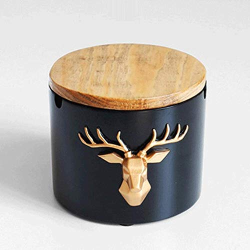 Ceniceros para cigarrillos cenicero con tapa para escritorio para fumar Cenicero de resina de mesa hermosa decoración artesanal Cenicero redondo con tapa_negro