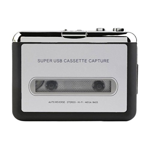 D DOLITY USB 2.0 Kassette zu MP3 Konverter Tragbarer Kassettenrecorder Rekorder Tape-zu-MP3 Audio Musik Player mi USB Kabel + Kopfhörerkabel
